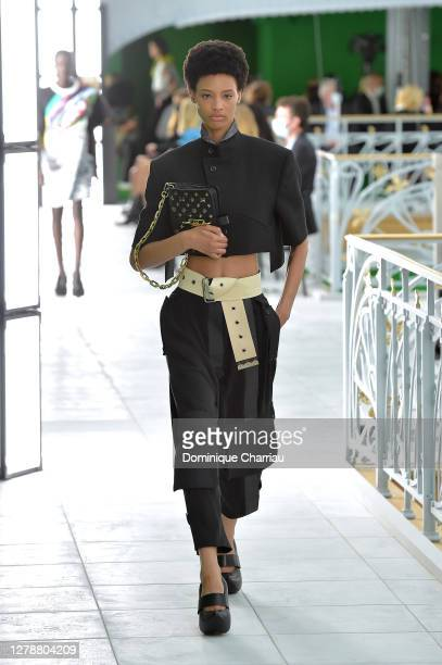 Model walks the runway during the Louis Vuitton Womenswear Spring/Summer 2021 show as part of Paris Fashion Week on October 06, 2020 in Paris, France.