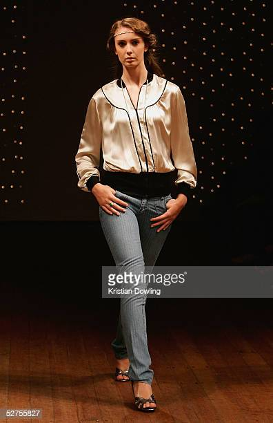 A model walks the runway during the Lover Collection show at the Billich Gallery during the Mercedes Fashion Week May 4 2005 in Sydney Australia