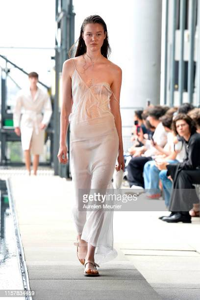 Model walks the runway during the Ludovic de Saint Sernin Menswear Spring Summer 2020 show as part of Paris Fashion Week on June 23, 2019 in Paris,...