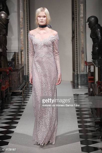 Model walks the runway during the Luisa Beccaria show as a part of Milan Fashion Week Womenswear Autumn/Winter 2014 on February 21, 2014 in Milan,...