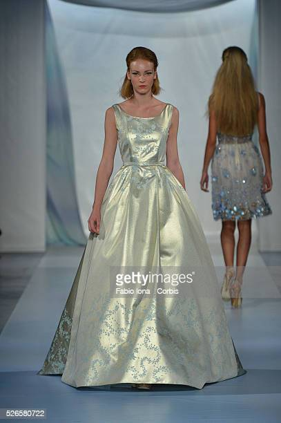 Model walks the runway during the Luisa Beccaria show as a part of Milan Fashion Week Womenswear Spring/Summer 2014 on September 18, 2013 in Milan,...