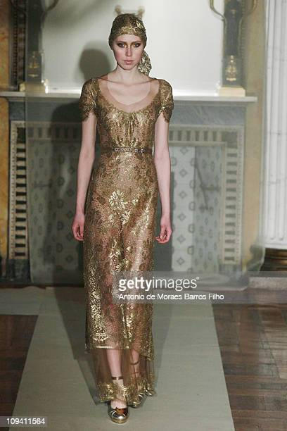 Model walks the runway during the Luisa Beccaria show as part of Milan Fashion Week Womenswear Autumn/Winter 2011 on February 24, 2011 in Milan,...