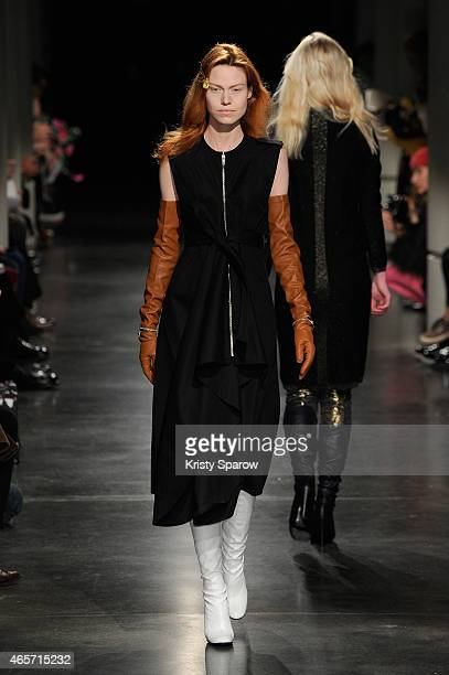 Model walks the runway during the Lutz Huelle show as part of Paris Fashion Week Womenswear Fall/Winter 2015/2016 at Monde du Arabe on March 9, 2015...