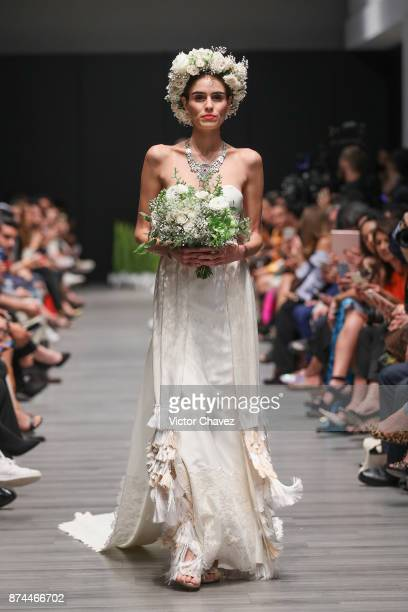 A model walks the runway during the Lydia Lavin show at Mercedes Benz Fashion Week Mexico Spring/Summer 2018 at Altto San Angel on November 14 2017...