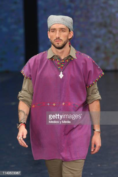 A model walks the runway during the Lydia Lavín show as part of the MercedesBenz Fashion Week Mexico Fall/Winter 2019 Day 4 at Fronton Mexico on...