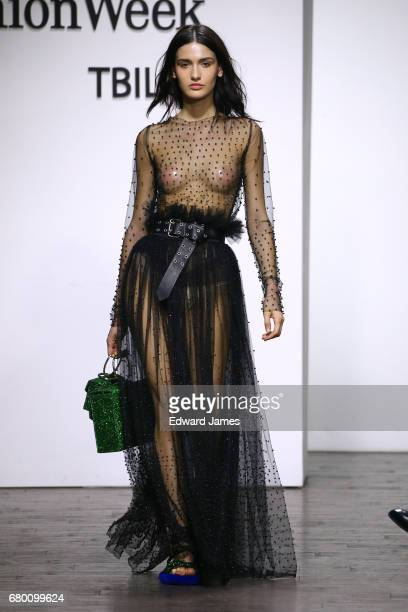 A model walks the runway during the Mach Mach Fall/Winter 2017/2018 collection fashion show during MercedesBenz Fashion Week Tbilisi on May 7 2017 in...