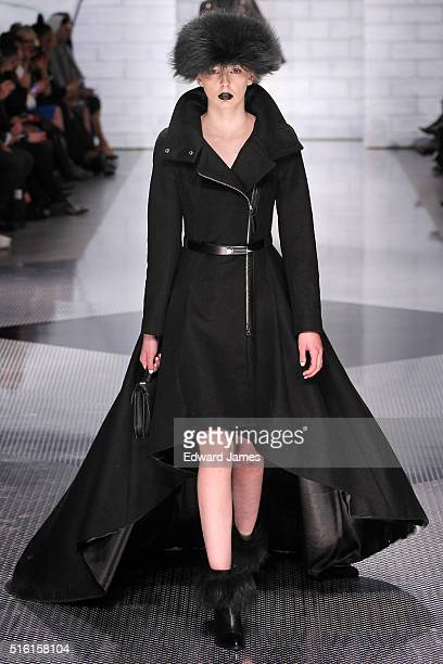 A model walks the runway during the Mackage fashion show at CBC Studios on March 16 2016 in Toronto Canada