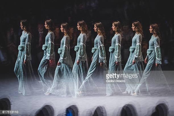 Model walks the runway during the Madiyah Al Sharqi show at Fashion Forward Spring/Summer 2017 held at the Dubai Design District on October 23, 2016...