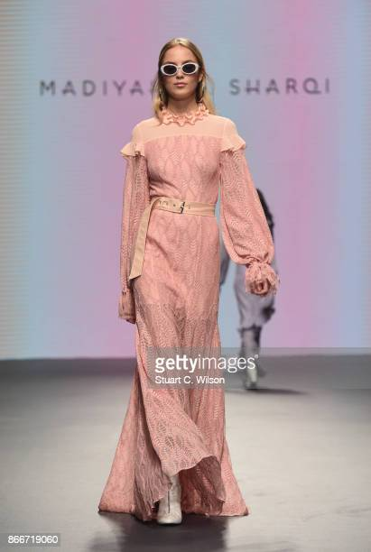 A model walks the runway during the Madiyah Al Sharqi show at Fashion Forward October 2017 held at the Dubai Design District on October 26 2017 in...
