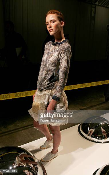 A model walks the runway during the Magda Berliner show during MercedesBenz Fashion Week at Smashbox Studios March 18 2005 in Culver City California