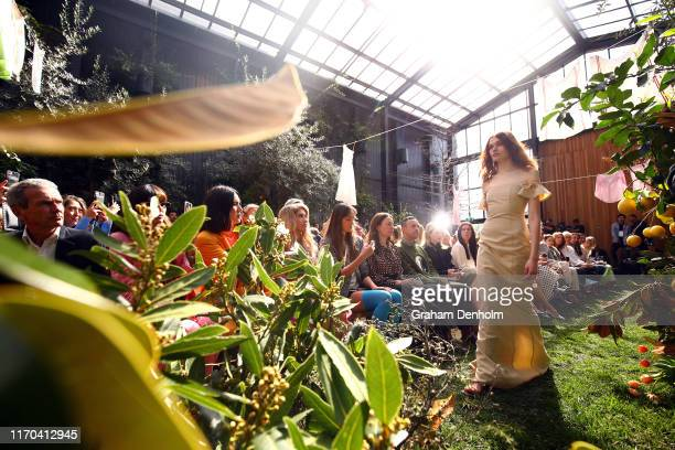 A model walks the runway during the Maggie Marilyn show during New Zealand Fashion Week 2019 at Glasshouse Morningside on August 27 2019 in Auckland...