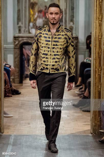 Model walks the runway during the Maison Anggy Haif Haute Couture Fall/Winter 2017-2018 show as part of Haute Couture Paris Fashion Week on July 4,...