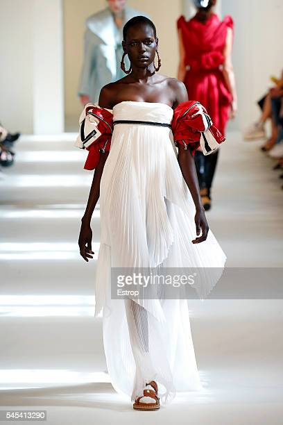 Model walks the runway during the Maison Margiela designed by John Galliano Haute Couture Fall/Winter 2016-2017 show as part of Paris Fashion Week on...