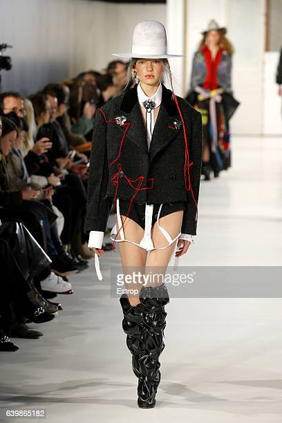 Model walks the runway during the Maison Margiela designed by John Galliano Spring Summer 2017 show as part of Paris Fashion Week on January 25, 2017...