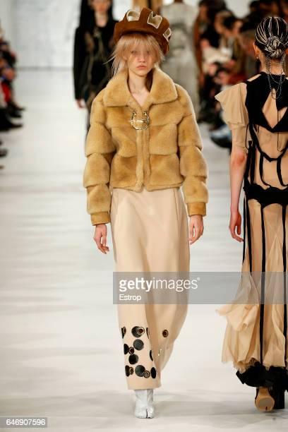 A model walks the runway during the Maison Margiela designed by John Galliano show as part of the Paris Fashion Week Womenswear Fall/Winter 2017/2018...