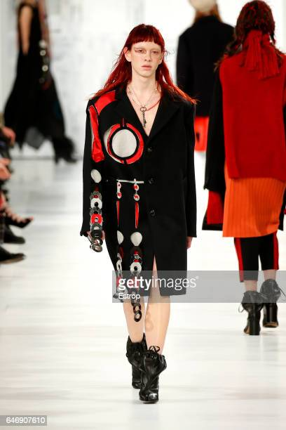 A model walks the runway during the Maison Margiela designed by John Galliano show as part of the Paris Fashion Week Womenswear Fall/Winter 2017/2018...