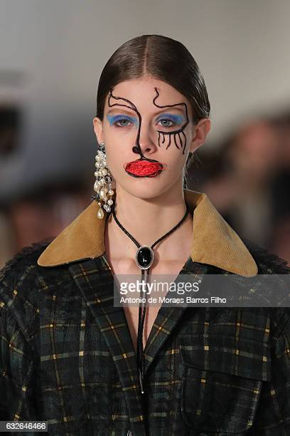 A model walks the runway during the Maison Margiela Haute Couture Spring Summer 2017 show as part of Paris Fashion Week on January 25 2017 in Paris...