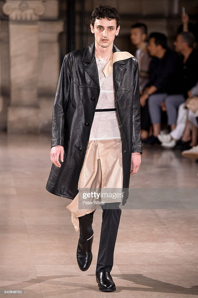 A model walks the runway during the Maison Margiela Menswear Spring/Summer 2017 show as part of Paris Fashion Week on June 24, 2016 in Paris, France.