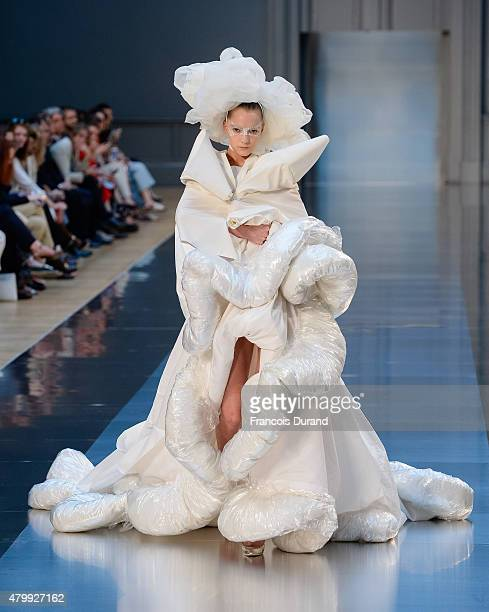 Model walks the runway during the Maison Margiela show as part of Paris Fashion Week Haute Couture Fall/Winter 2015/2016 on July 8, 2015 in Paris,...