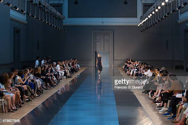 A model walks the runway during the Maison Margiela show as part of Paris Fashion Week Haute Couture Fall/Winter 2015/2016 on July 8 2015 in Paris...