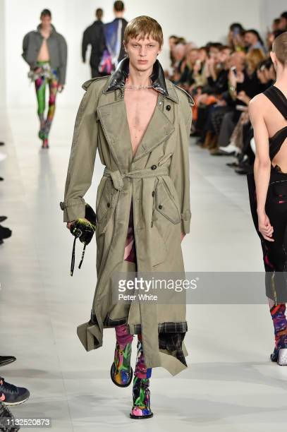 A model walks the runway during the Maison Margiela show as part of the Paris Fashion Week Womenswear Fall/Winter 2019/2020 on February 27 2019 in...