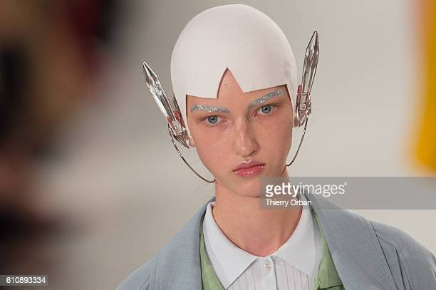 A model walks the runway during the Maison Margiela show as part of the Paris Fashion Week Womenswear Spring/Summer 2017 on September 28 2016 in...