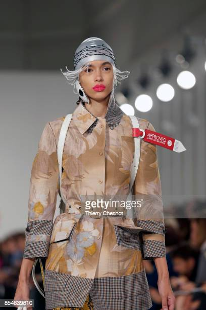 A model walks the runway during the Maison Margiela show as part of the Paris Fashion Week Womenswear Spring/Summer 2018 on September 27 2017 in...
