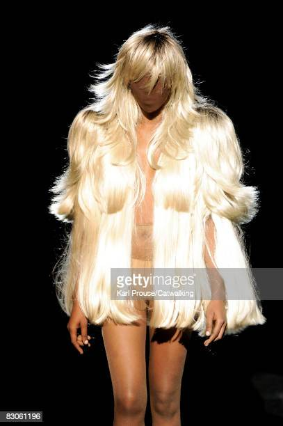 Model walks the runway during the Maison Martin Margiela show part of Paris Fashion Week Spring/Summer 2009 on September 29,2008 in Paris,France.