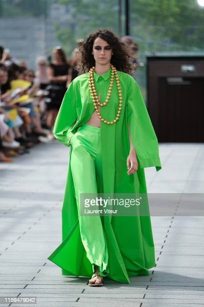 Model walks the runway during the Maison Rabih Kayrouz Haute Couture Fall/Winter 2019 2020 show as part of Paris Fashion Week on July 01, 2019 in...