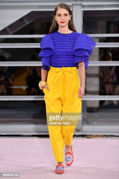 A model walks the runway during the Maison Rabih Kayrouz Haute Couture Fall Winter 2018/2019 show as part of Paris Fashion Week on July 2 2018 in...