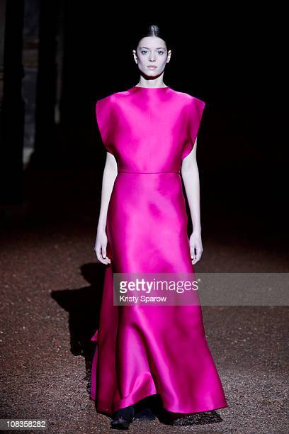 A model walks the runway during the Maison Rabih Kayrouz show as part of the Paris Haute Couture Fashion Week Spring/Summer 2011 at Couvent des...