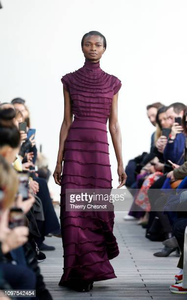 A model walks the runway during the Maison Rabih Kayrouz Spring Summer 2019 show as part of Paris Fashion Week on January 21 2019 in Paris France