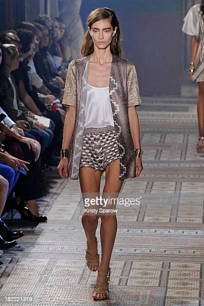 A model walks the runway during the Maiyet show as part of Paris Fashion Week Womenswear Spring/Summer 2014 on September 28 2013 in Paris France