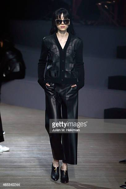 A model walks the runway during the Maiyet show as part of the Paris Fashion Week Womenswear Fall/Winter 2015/2016 on March 6 2015 in Paris France