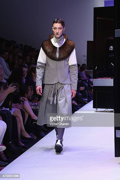 A model walks the runway during the Malafacha show at MercedesBenz Fashion Week México Autumn/Winter 2016 at Campo Marte on April 16 2016 in Mexico...