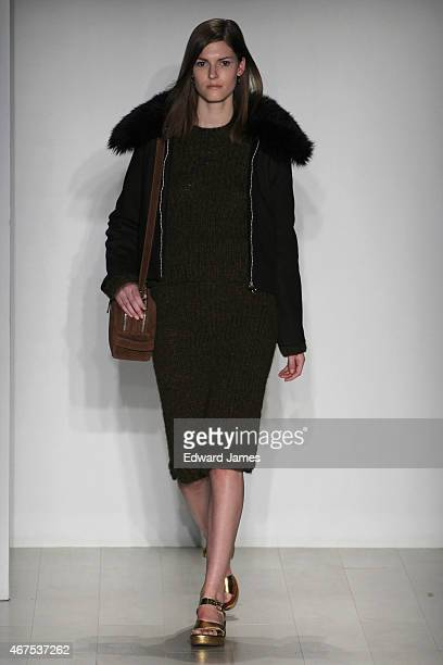 A model walks the runway during the Malorie Urbanovitch fashion show at David Pecaut Square on March 25 2015 in Toronto Canada