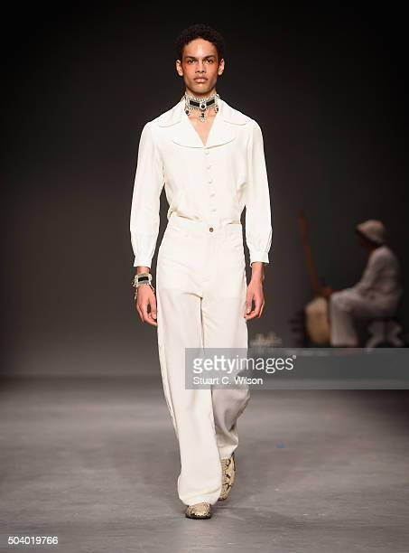 A model walks the runway during the MAN Wales Bonner show at the London Collections Men AW16 at the Topman Show Space on January 8 2016 in London...
