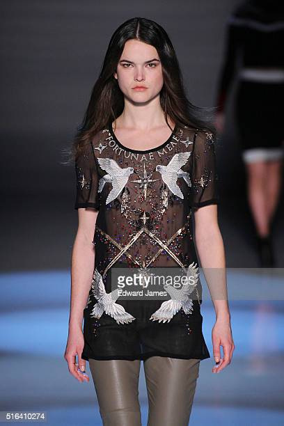 A model walks the runway during the Maram fashion show at David Pecaut Square on March 18 2016 in Toronto Canada