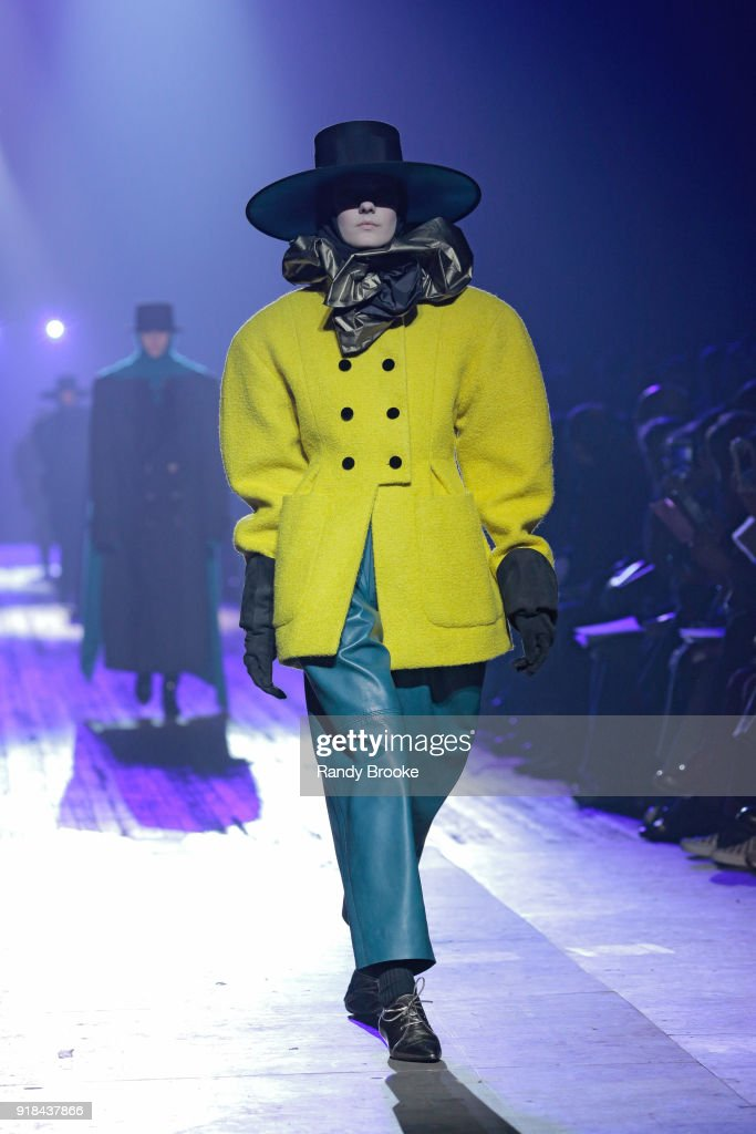 A model walks the runway during the Marc Jacobs Fall 2018 February 2018 New York Fashion Week: The Shows at Park Avenue Armory on February 14, 2018 in New York City.
