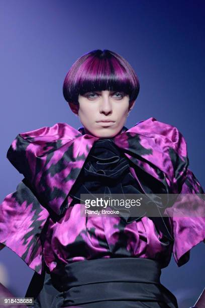 A model walks the runway during the Marc Jacobs Fall 2018 February 2018 New York Fashion Week The Shows at Park Avenue Armory on February 14 2018 in...