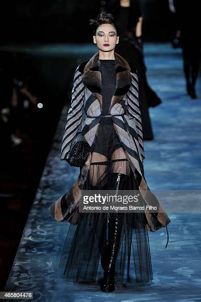 A model walks the runway during the Marc Jacobs fashion show during Fall 2015 MercedesBenz Fashion Week on February 19 2015 in New York City