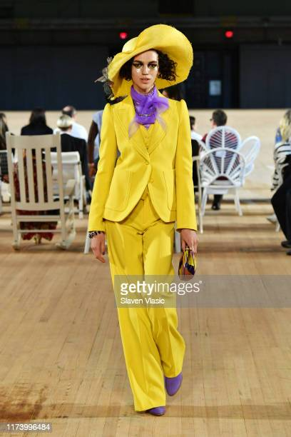 Model walks the runway during the Marc Jacobs Spring 2020 Runway Show at Park Avenue Armory on September 11, 2019 in New York City.