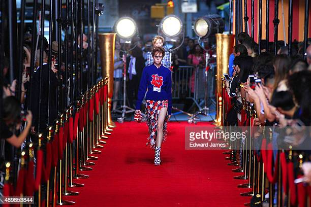 Model walks the runway during the Marc Jacobs Spring/Summer 2016 fashion show at Ziegfeld Theater on September 17, 2015 in New York City.