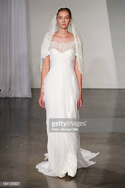 A model walks the runway during the Marchesa 2013 Bridal Collection show at on October 12 2012 in New York City