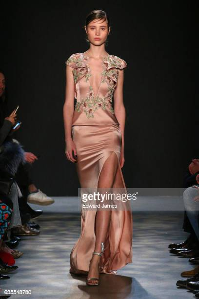 A model walks the runway during the Marchesa fashion show at Gallery 2 Skylight Clarkson Sq on February 15 2017 in New York City