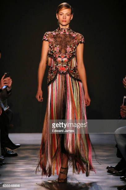 Model walks the runway during the Marchesa fashion show at Gallery 2, Skylight Clarkson Sq on February 15, 2017 in New York City.