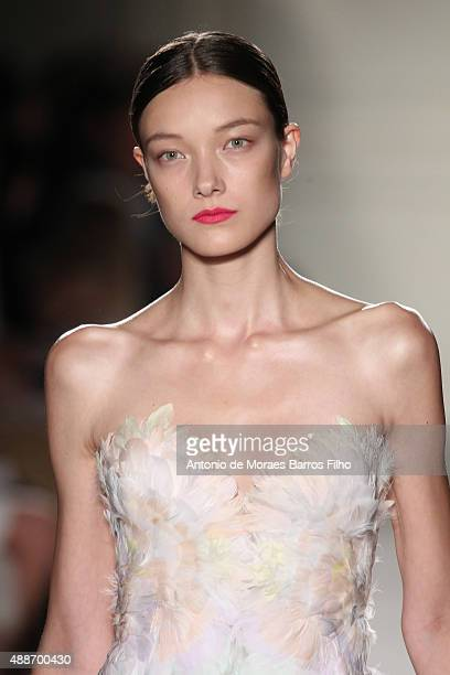 A model walks the runway during the Marchesa show as a part of Spring 2016 New York Fashion Week on September 16 2015 in New York City