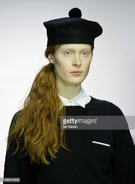 A model walks the runway during the Margaret Howell show at London Fashion Week Autumn/Winter 2012 at Somerset House on February 19 2012 in London...