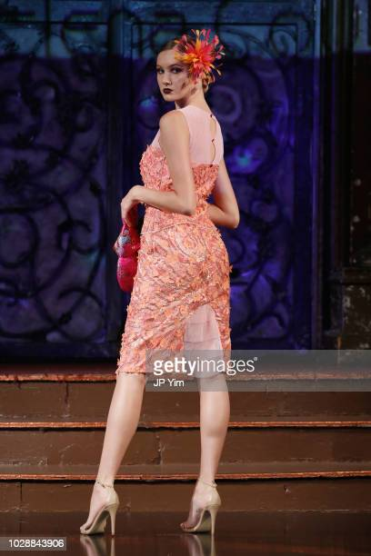 A model walks the runway during the Maria Elena Couture show during New York Fashion Week powered by Art Hearts at The Angel Orensanz Foundation on...