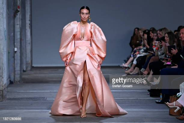 Model walks the runway during the Mariam Seddiq show during Afterpay Australian Fashion Week 2021 Resort '22 Collections at Carriageworks on June 02,...